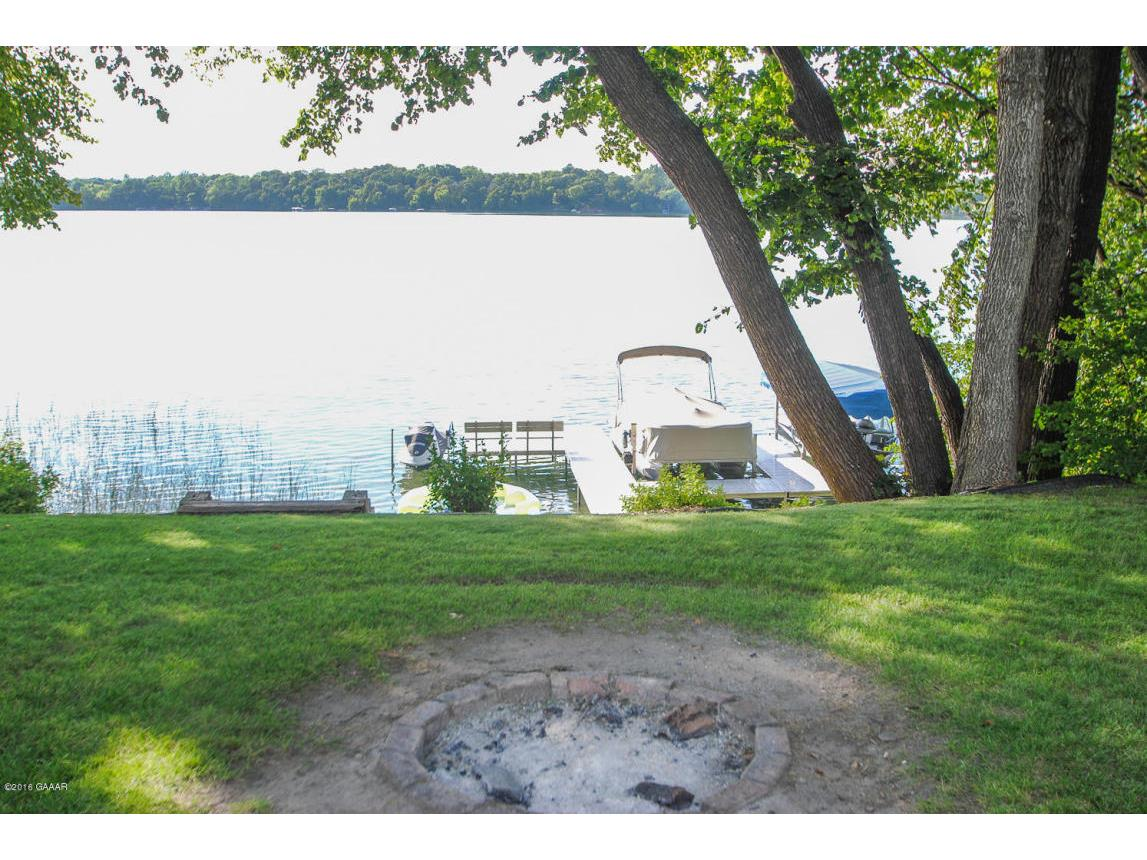 Fire pit and view of lake.