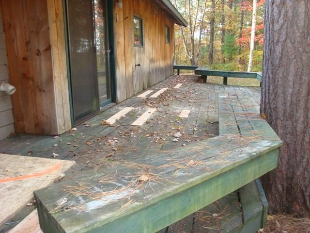 Wooden deck on back of house