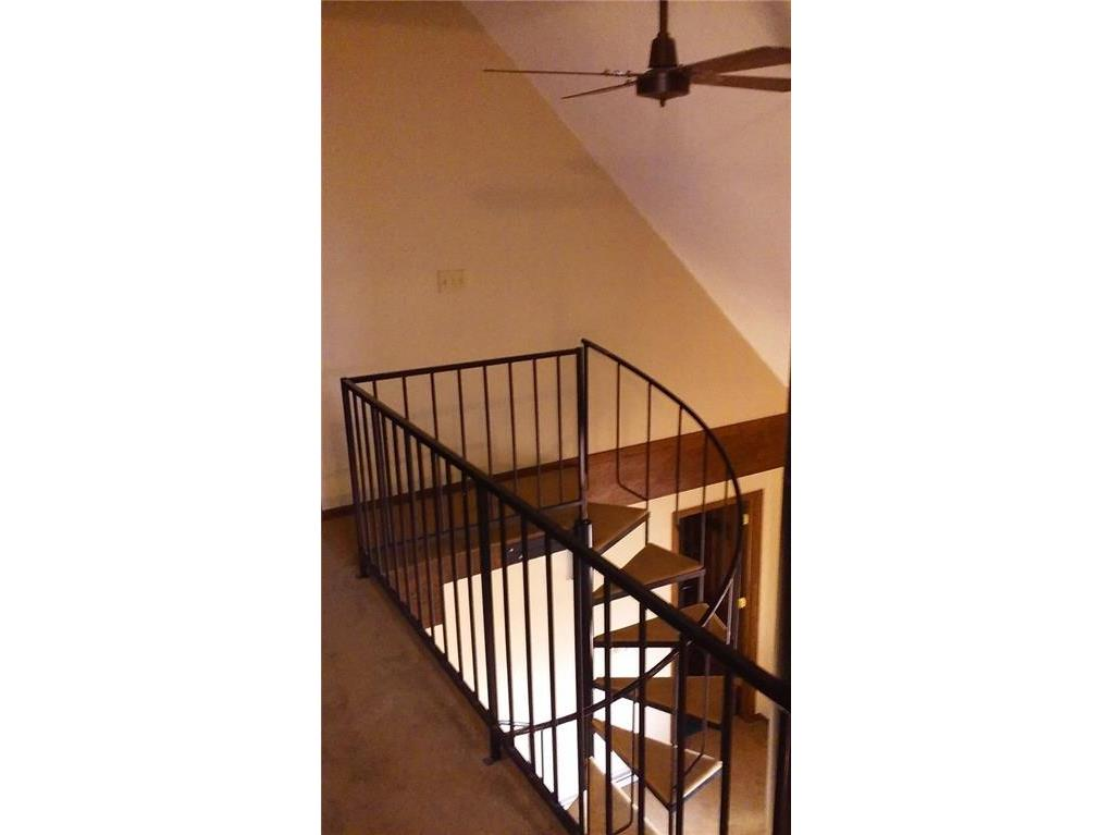 Spiral stairs to the second floor.