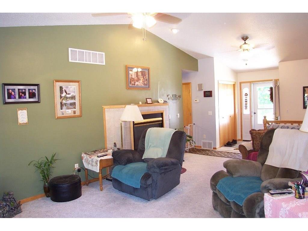 Nice living room with vaulted ceilings and gas fireplace