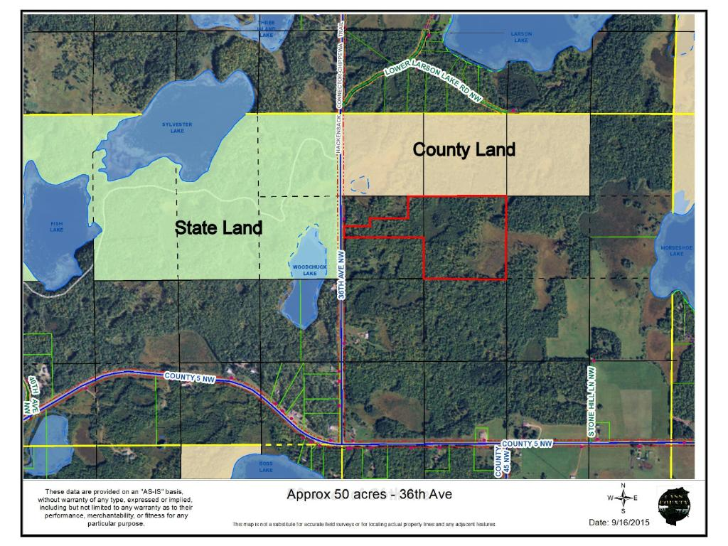 Borderd by County and State land, the 50 acre parcel shares a driveway off County 122