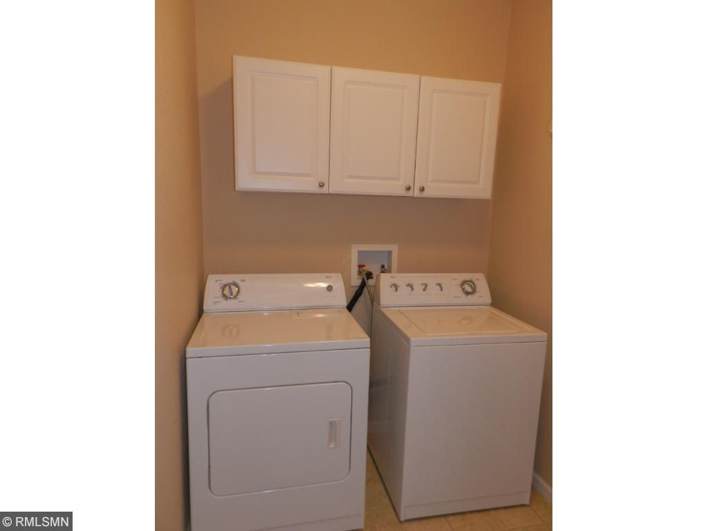 Washer and Dryer with cabinetry. Plenty of room for storage.