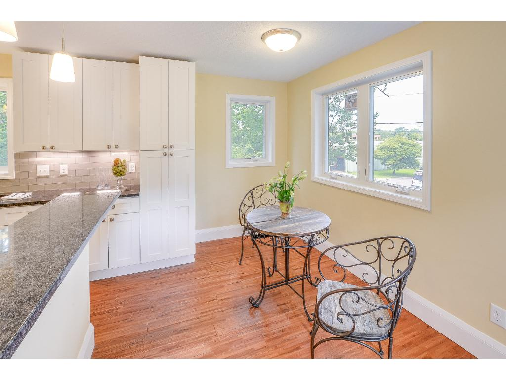 Eat in kitchen over looking yard and deck.