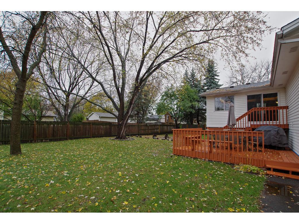 Large backyard with privacy fence