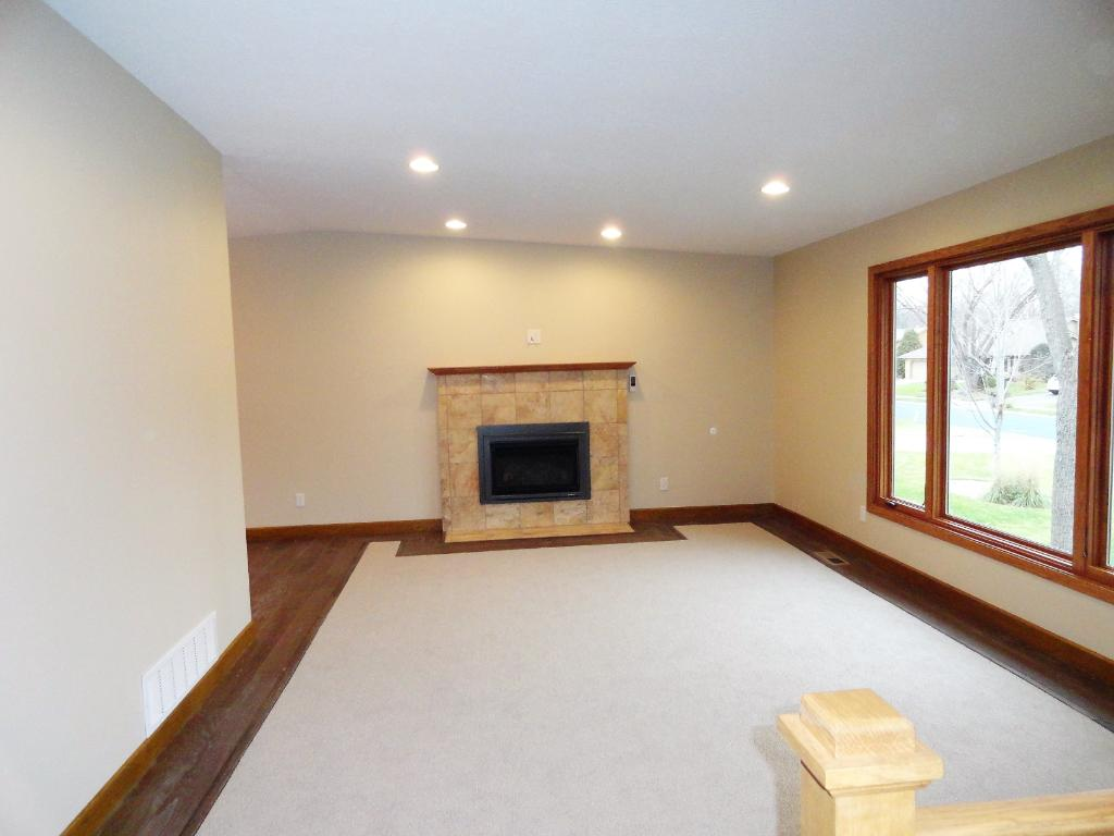 Living room with new gas fireplace