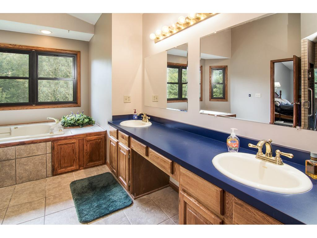 Very large master bath features a double vanity!