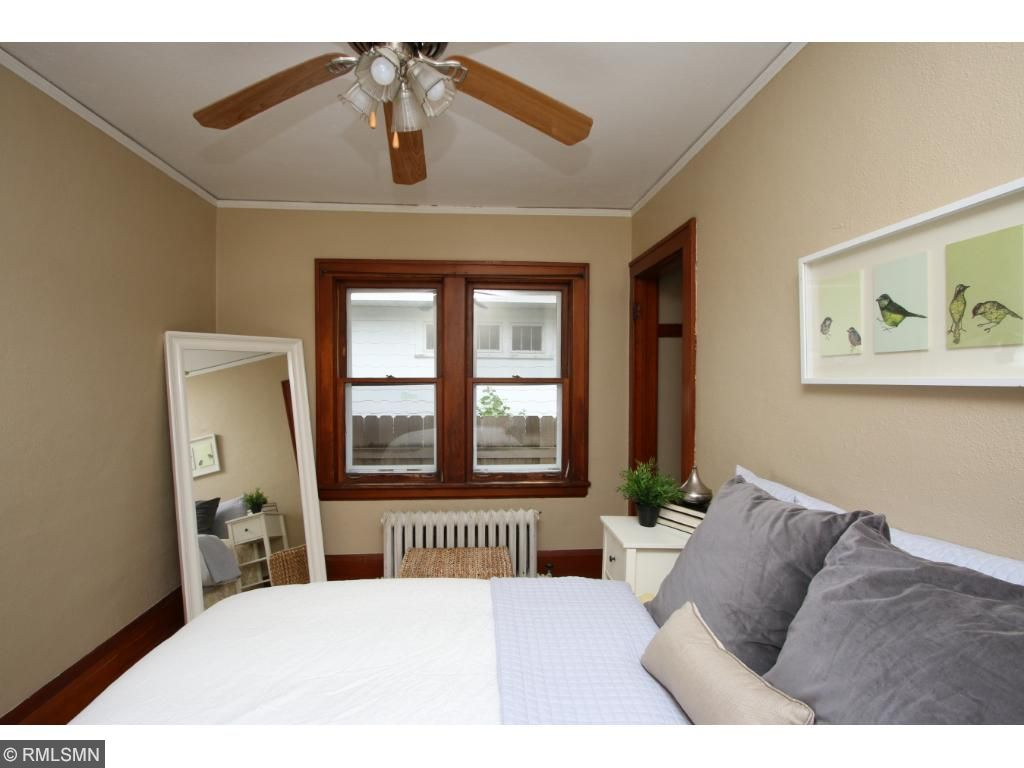 One of two bedrooms - hardwood floors throughout