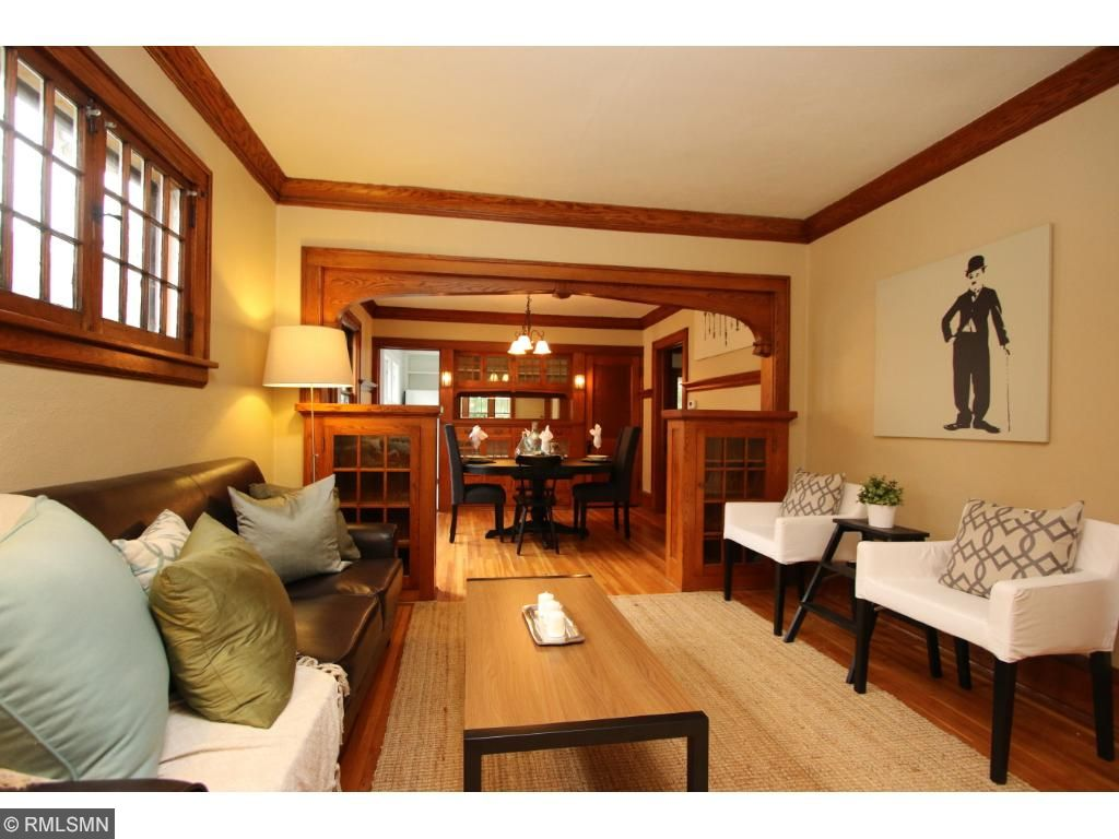 Gorgeous woodwork throughout living and dining room!