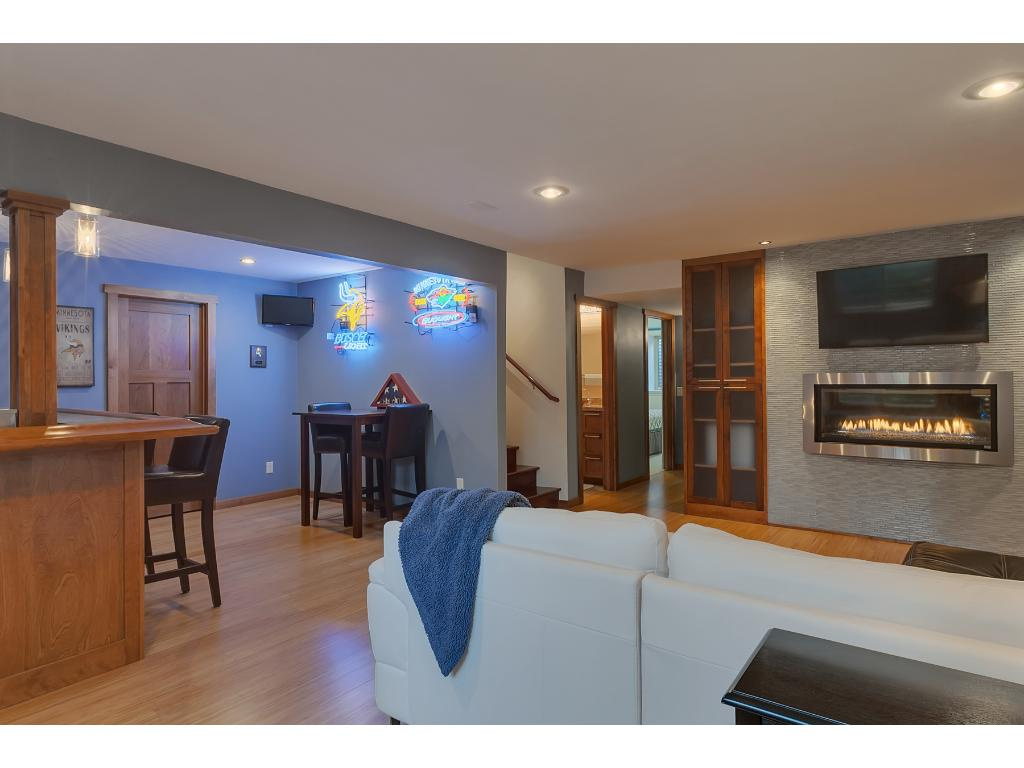 The family room also features bamboo flooring and recessed lighting.