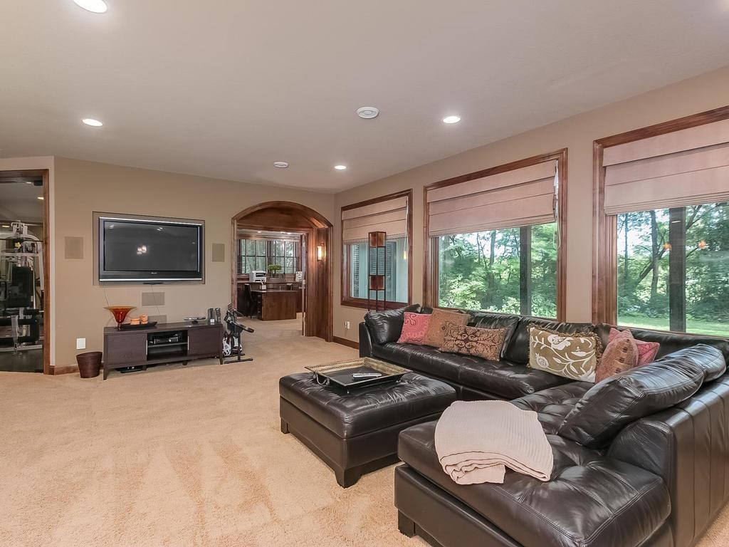 Lower level family/amusement room with natural light from wall of windows, views of pond/woodland and stone surround two-sided fireplace.
