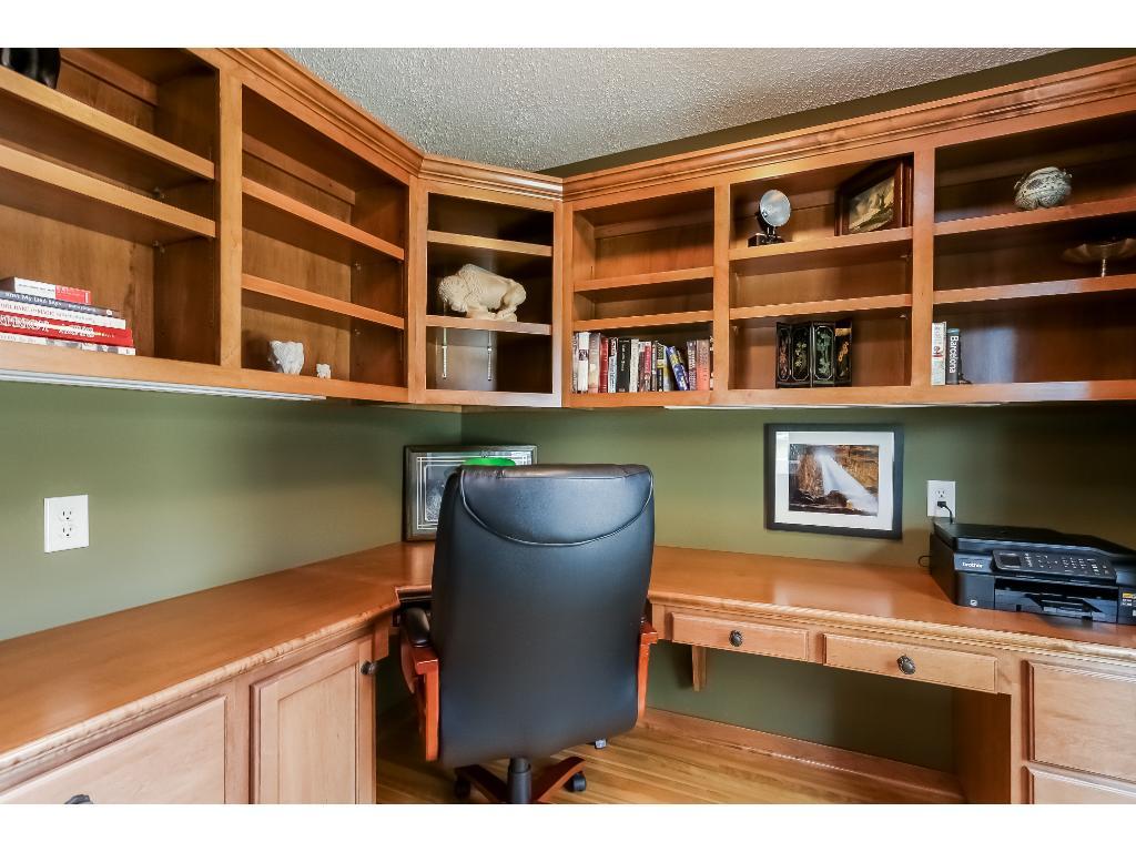 Pocket doors hide built-in desk
