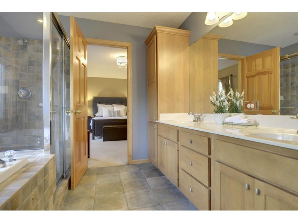Fabulous & spacious Master Bath offers jetted tub, walk-in shower, double sinks & so much more.  Very relaxing!