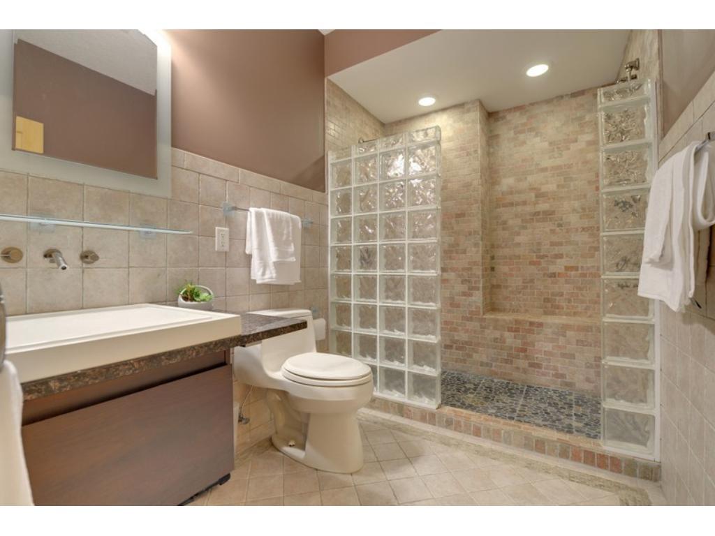 Fabulous lower level bath, with custom tile, walk-in shower  & more!
