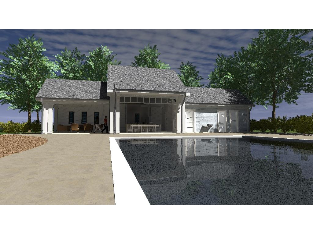 Rendering of the pool and clubhouse