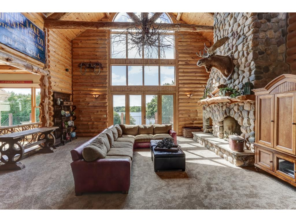 Great Room with Grand Stone Fireplace