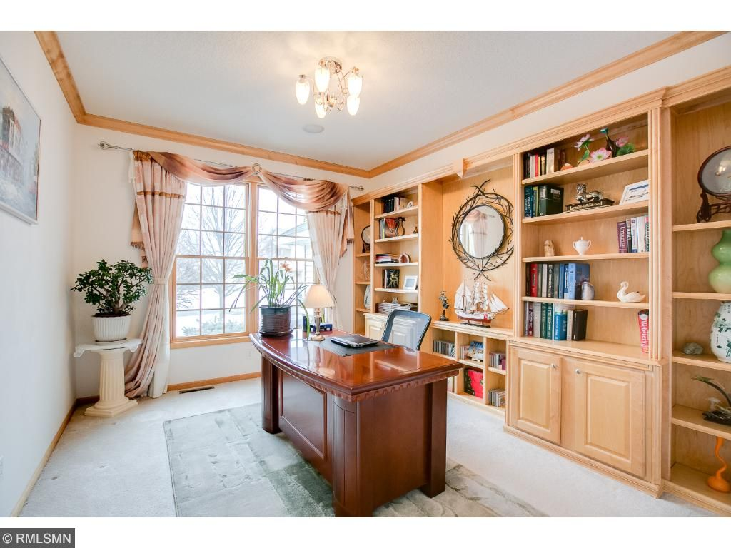 Work From Home? Why Not! Maple Built Ins , Crown Molding, Large