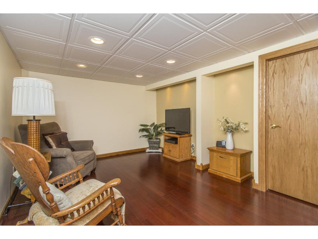 Lower level family room - just add your surround sound for movie night.