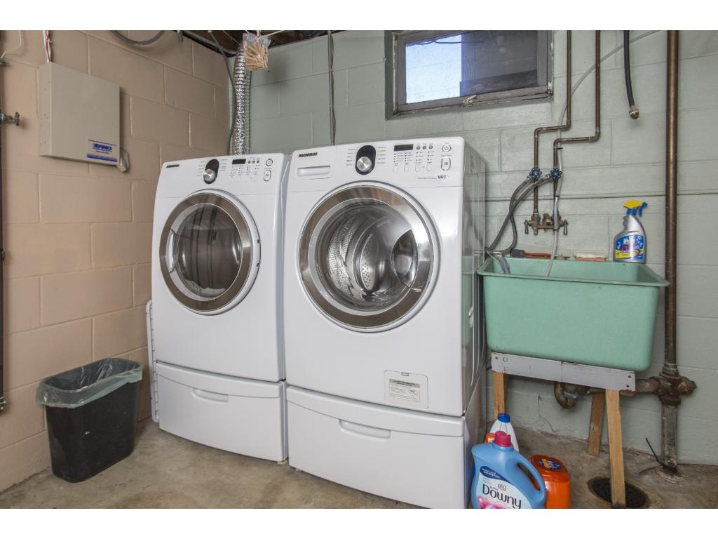 Newer washer and dryer; both large capacity.