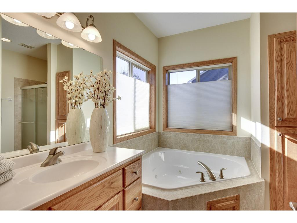 Corner tub and separate shower
