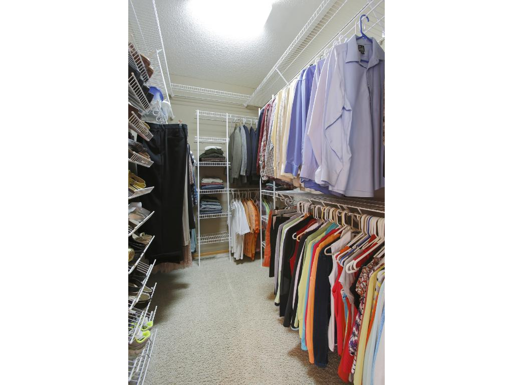 The master bedroom has a spacious walk-in closet and nice tall ceilings.