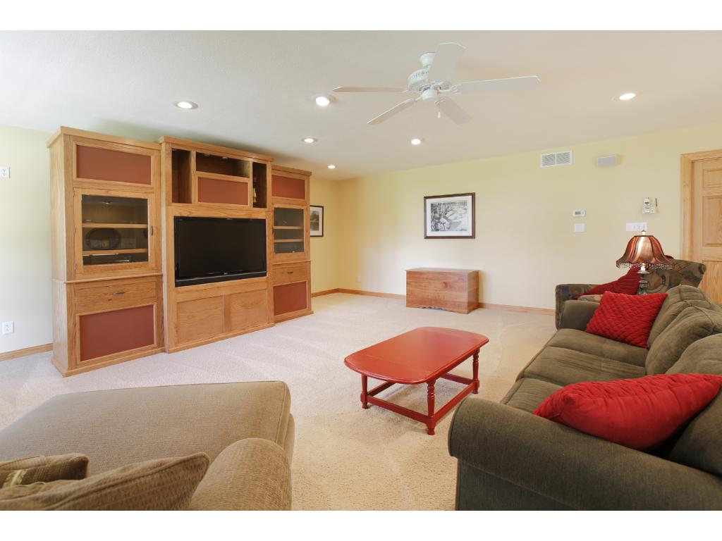 The large lower level family room provides a lot more space for entertaining.