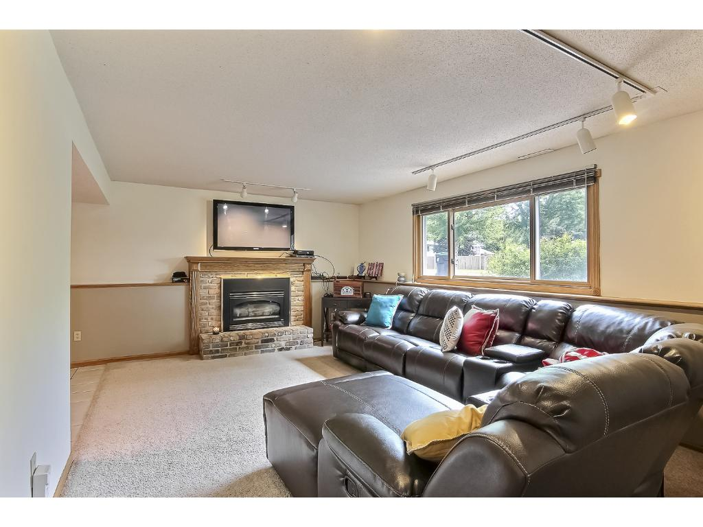 Lower level family room with gas fireplace