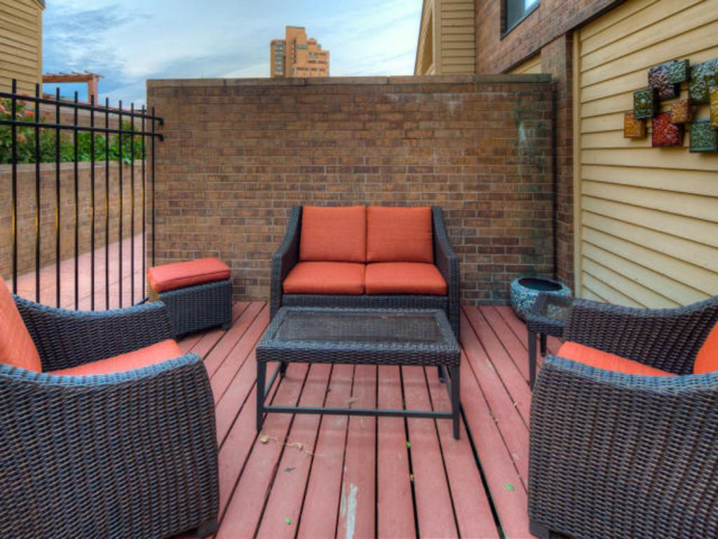 Private gated deck is directly in front of your front entry