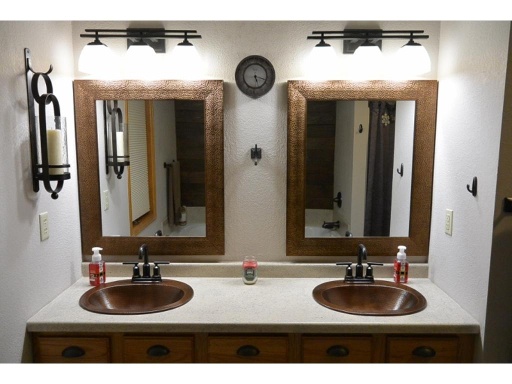 Master bath with new cooper sinks