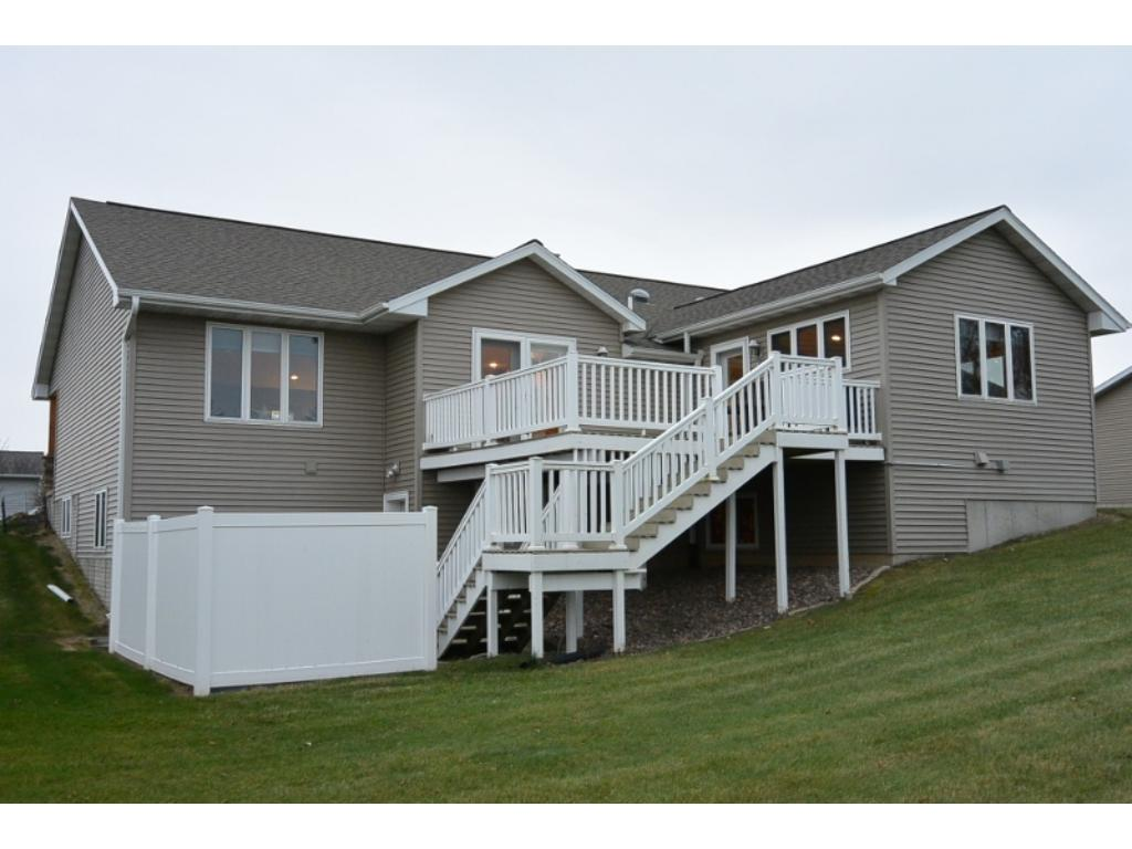 Beautiful deck that leads down to private fenced in area in back