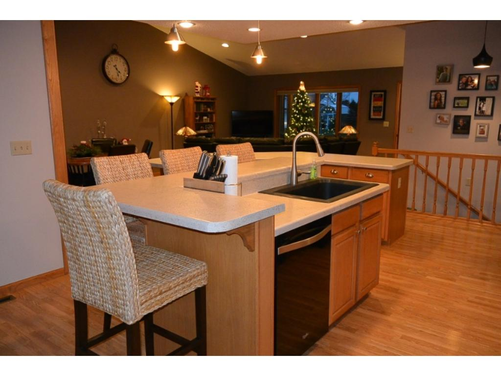 Open kitchen to dining and living room