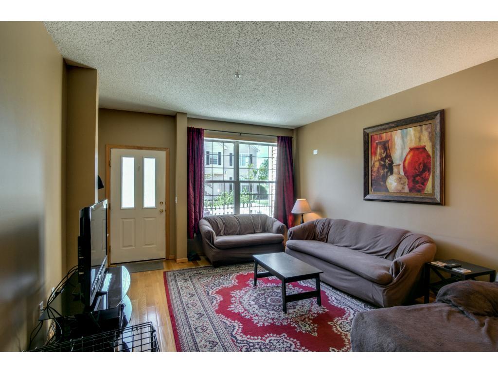 Huge living room with hard wood floors
