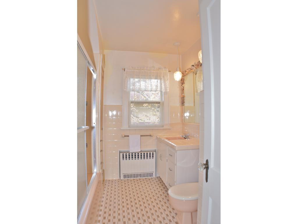 The upstairs bathroom is spacious and bright!