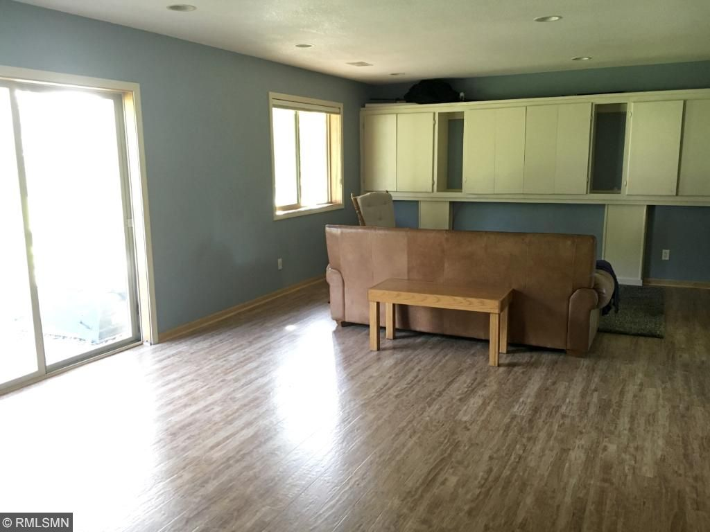 Lower level family room, with wood-look flooring, is big enough for a comfy area to lounge and also double as a game area, toy room...
