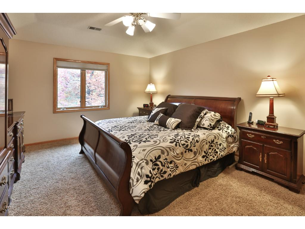 The spacious master bedroom offers a tray vault ceiling with a fan, a large walk-in closet, large built-in linen, and full master bath.