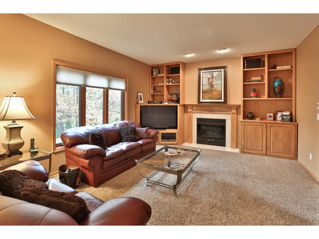 The main floor family room is open the the kitchen and informal dining area, with a beautiful view of the private back yard.  The cozy gas fireplace is surrounded by convenient built-in storage.