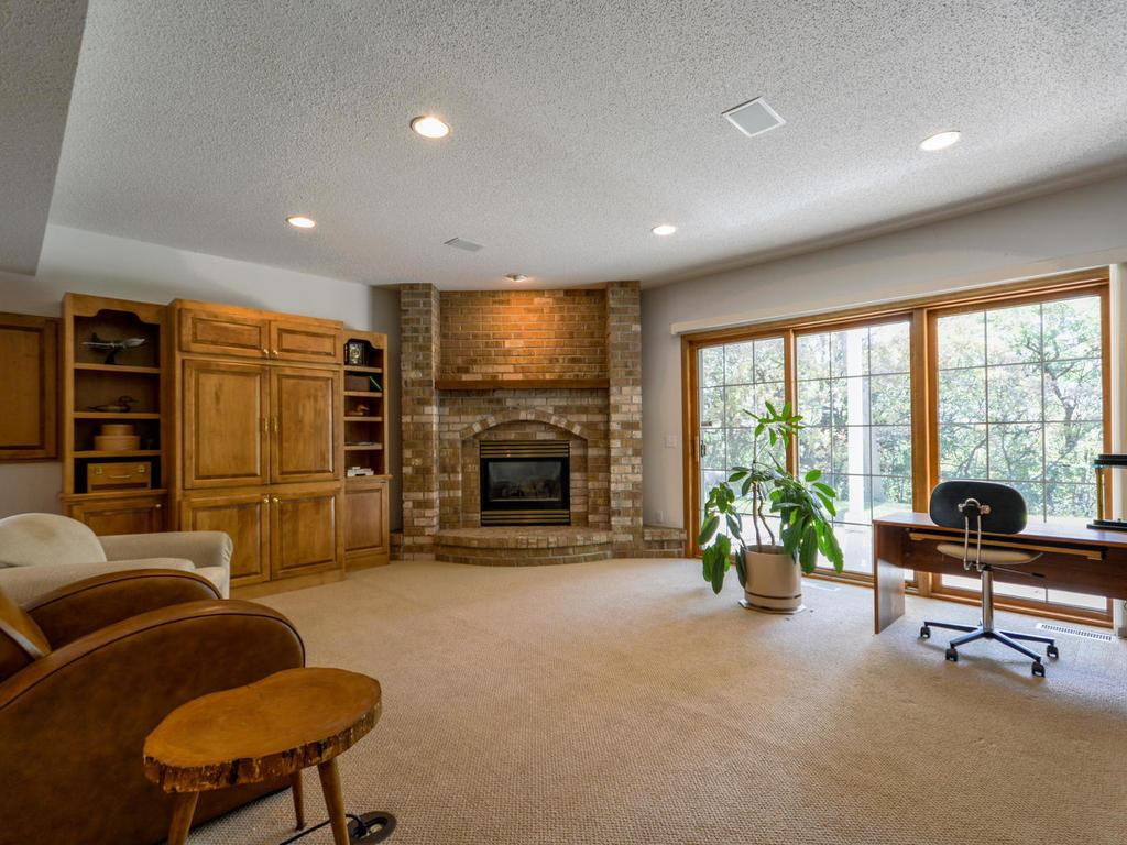 Spacious lower level with gas fireplace and built-ins.