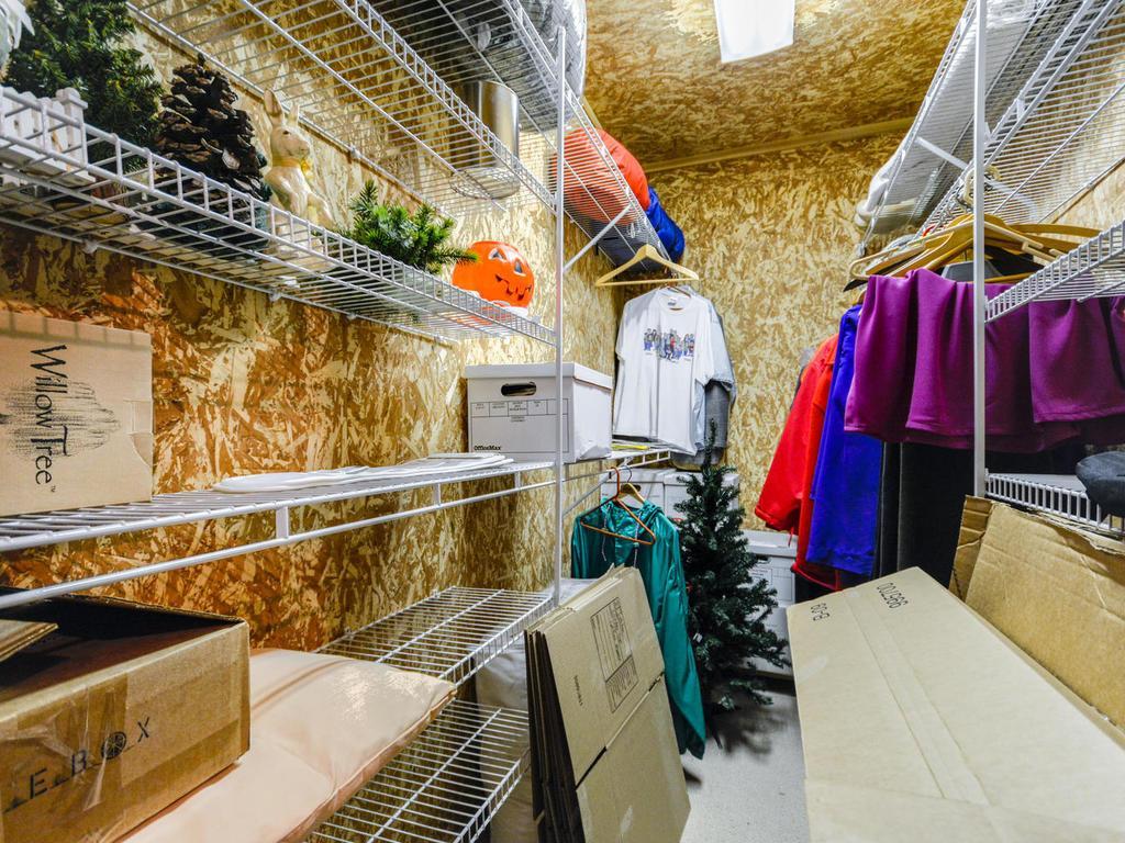 Lower level cedar closet storage area.