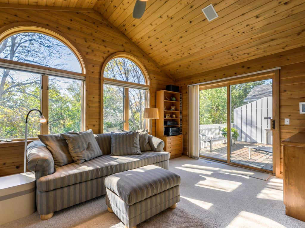 A glorious 4-season porch!  Vaulted ceiling.  Large windows.