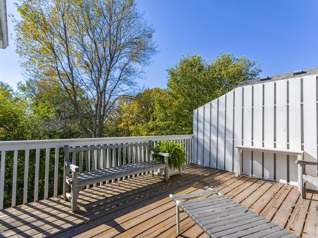 Just off the porch is a large deck for you to watch wildlife as you overlook the Minnesota River Valley.   No one behind you!