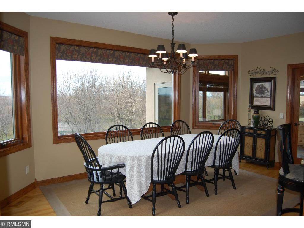 Huge windows in the spacious dining room