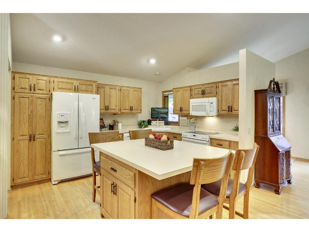 Kitchen center island with seating for 4 and storage galore