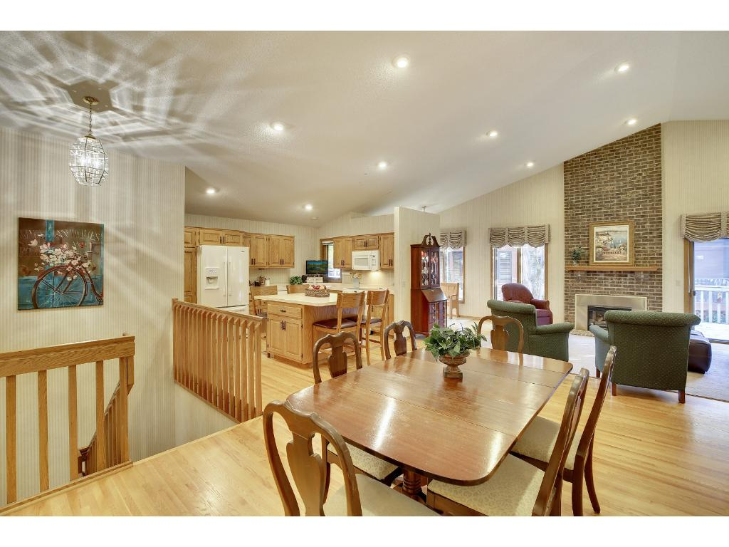 Formal and informal dining options in this open dining room and kitchen