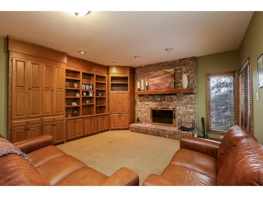 Living Room with Built-Ins and fireplace.
