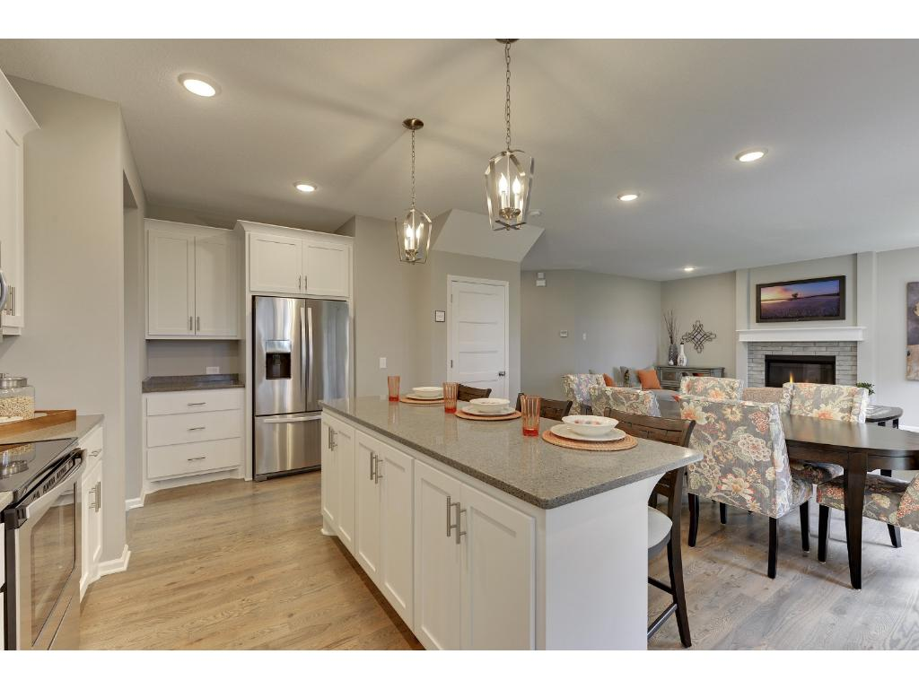 Large Island with Custom Cabinets that are site finished for storage underneath