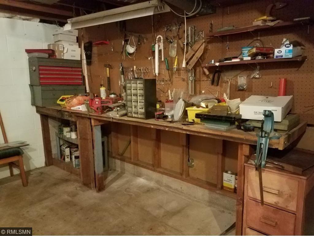 Basement work bench area.
