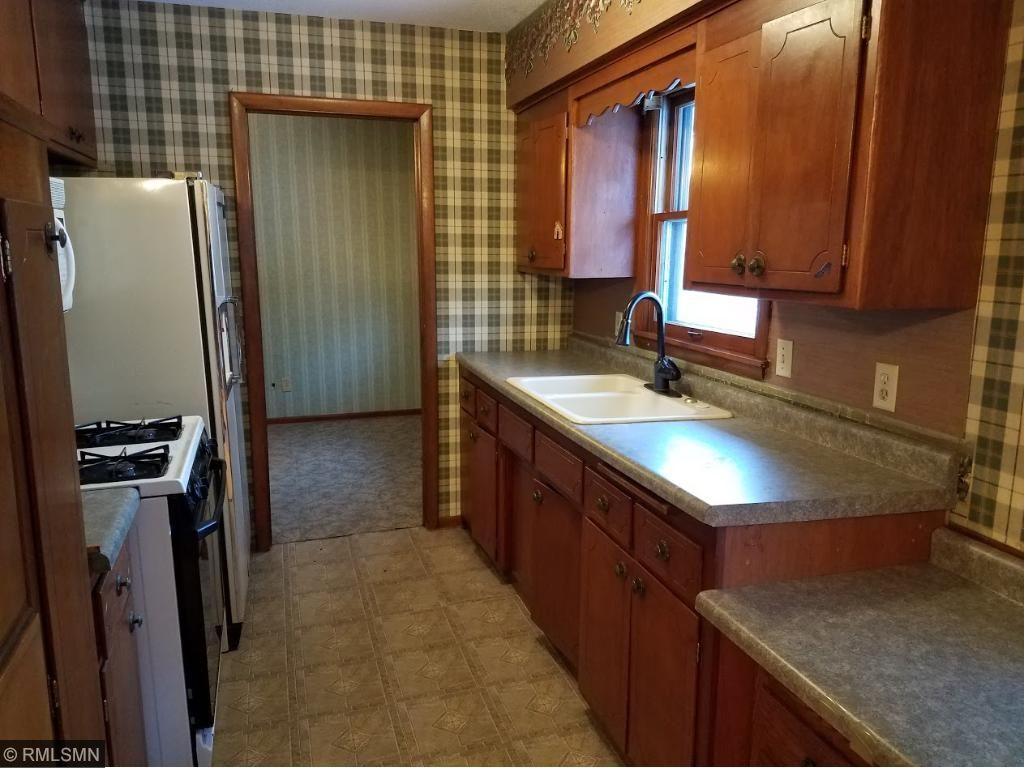 Kitchen window and plenty of cupboard space