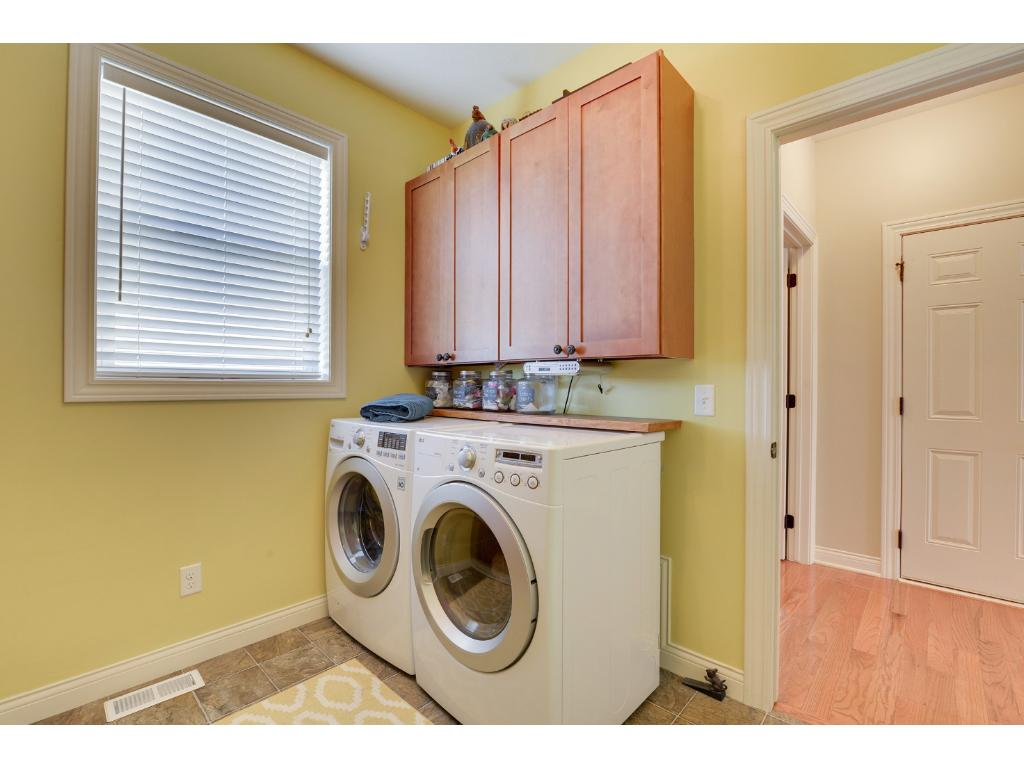 Washer and dryer in main level mud room.