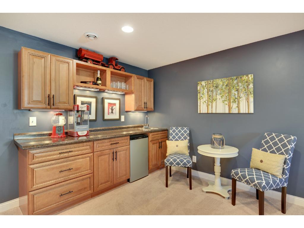Lower level has built-in cabinets, counter, and wet bar.
