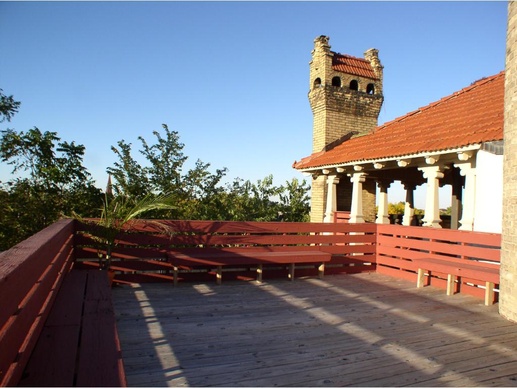 Tuscany? No, it's the MOST amazing rooftop deck in St. Paul-gorgeous views in all directions. This is a shared deck for the Italianate Firenze Condo building.