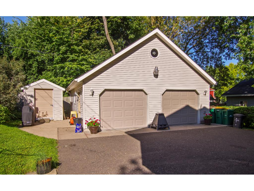 28 x 28 2 car garage heated and insulated. Hard to find!! There is also an 8 x 10 shed.